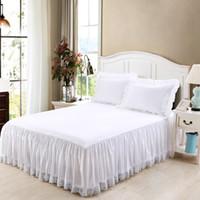 cama de ruffle branco cheio venda por atacado-Puro algodão branco Coreano rendas com cama de superfície saia da cama avental ruffles colcha gêmeo completa queen size frete grátis SN