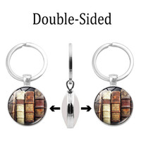 Wholesale small stainless steel carabiner online - Cross border new accessories Library time gem double sided keychain Glass dome alloy key ring Bag pendant small gift
