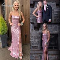 marine heiße rosa mädchen kleider großhandel-2019 Rosa Spaghetti Pailletten Abiballkleid Mit Hoch Aufgeteilt Nach Maß Heiße Verkäufe Mädchen Anlass Kleid