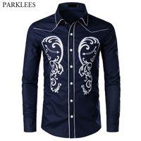 camisa de esmoquin azul marino al por mayor-Azul marino camisa de bordado floral de los hombres de la marca slim fit manga larga para hombre camisas de vestir de fiesta de la boda camisa de esmoquin hombre chemise homme xxl