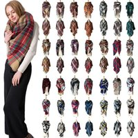 Wholesale blanket scarfs resale online - 34 Colors Plaid Pashmina Scarf CM Woman Oversized Tartan Scarf Wrap Shawl Square Tassel Scarves Warm Yoga Blanket TTA1430
