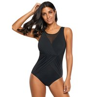 73819b2ec8722 Sexy Women Balck Mesh Splice Bodysuit Ruched Front Ladies Sleeveless  Beachwear Bathing Suits Monokinis One Piece Swimwear