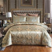 Wholesale quilt covers single beds resale online - 50 Luxury Jacquard Bedding set Single Queen King Size Duvet Cover Set Bed Linen Quilt Cover