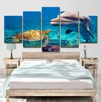 Wholesale group oil painting wall art resale online - HD Printed Piece Canvas Art Blue Deep Ocean Dolphin Fish Group Painting Wall Decorations Living Room
