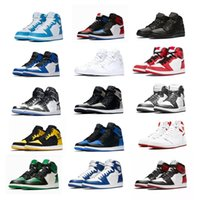 ingrosso migliori uomini di sneakers in cima alti-1 High OG Mens Scarpe da Basket Banned Bred Toe Shadow Gold Top Best Quality Designer Uomo Donna Athletics Sneakers Scarpe da ginnastica 36-47 Con scatola