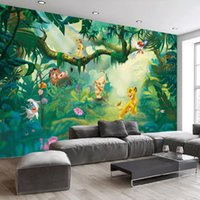 Wholesale cartoon wall painting bedroom resale online - Custom Photo Wallpaper D Cartoon Animal Forest Trees Background Wall Decorative Painting Children Room Bedroom Mural Wall Paper