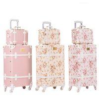 hilandero vintage al por mayor-BeaSumore Retro Pink PU de cuero conjunto de equipaje rodante Spinner maleta rueda Vintage cabina Trolley bolso de viaje de las mujeres