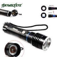 Wholesale rechargeable diving flashlight resale online - Skywolfeye T71 Xm l T6 Led Rechargeable Flashlight Torch Zoomable Lumen Modes Focus Lamp Flash Light for Outdoor Camping
