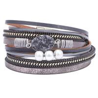 модный браслет с жемчугом оптовых-Fashion Womens Bohemia Leather Wrap Bracelet Handmade Wristband Stone Strand Pearls  Cuff Bangle Bracelets for Women Girls