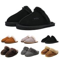 chinelos de pele para mulheres venda por atacado-WGG mulheres Slides inverno luxo Designer pele Indoor Marca sandálias das mulheres quentes chinelos flip flops Com Pico Sandália 36-41