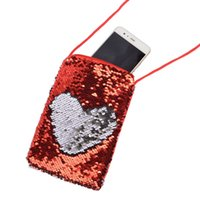 Wholesale luxury pouch bags wallet purse for sale - Mix colors kids purses Fashion mermaid sequin mobile phone bag hanging neck sports arm bag designer coin pouch luxury wallet coin purse