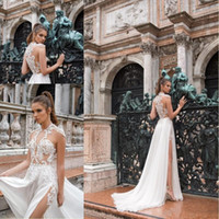 Wholesale vintage sleeveless wedding dress online - Summer Bohemian Chiffon Lace Wedding Dresses High Neck Sheer See through Applique High Split Beach Bridal Gowns BC1439