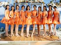 ingrosso vestiti da damigella d'onore di organza arancione-Abiti da damigella d'onore arancioni abito da sposa corto a pieghe in organza Abito da cerimonia nuziale a buon mercato Abito da damigella d'onore