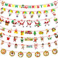 comprar pancartas al por mayor-Banderas Escuela de Bandera de Navidad de dibujos animados de papel de banner de Navidad centro comercial Shopping Center Feliz Año Nuevo Decoraciones de Navidad