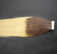 6a ses tüyü toptan satış-T2 / 60 Ombre Renk Işlenmemiş Çift Atkı Düz Saç Uzantıları% 100% İnsan Saç Dokuma 6a Cilt Atkı Bandı Saç Uzantıları