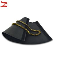 Wholesale chain counter resale online - Fashion Horn Shape Jewelry Display Rack Black PU Necklace Bead Chain Organizer Fan shaped Jewelry Watch Bracelet Counter Pad