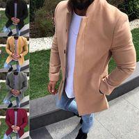 ingrosso cappotto britannico-Cappotto invernale da uomo in stile britannico Cappotto trench doppio petto Uomo Casual Giacche soprabito slim fit Manteau Homme