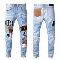 os homens o designer jean afligido venda por atacado-New Balmain Mens Distressed rasgado Biker Jeans Slim Fit Motociclista Denim For Men Fashion Designer Hip Hop Jeans Mens
