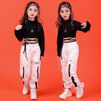 jazz, calças, pretas, dançar venda por atacado-Crianças Hip Hop Roupas Camisola Camisa Preta Top Colheita Calças Casuais para a Menina de Dança Jazz Traje de Dança de Salão Roupas Desgaste