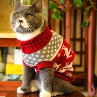 милые животные свитера оптовых-Cute Cat Свитер Костюм Зимняя теплая одежда для животных Одежда для кошек для кошек Katten Kedi Giyim Mascotas Gato Pets Товары для животных