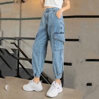 lose hosen frauen großhandel-Herbst Jeans Cargo Pants Frauen Denim Jogger Elastische Taille Stretch Hosen Frauen Casual Vintage Wash Loose Fit Ripped Pants SH190816