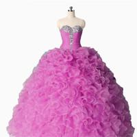 quente rosa vestidos quinceanera ruffled venda por atacado-Foto Real Hot Pink Ruffles Quinceanera Prom vestidos Giltter Cristal Frisado Organza Espartilho Voltar New Sweet 15 Vestido Vastidos De Vestido