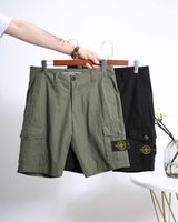 mens pocket pants toptan satış-2019 erkek pantolon Avrupa retro rahat tasarımcı şort pantolon özel örgü kumaş vahşi yumuşak düz cepler pantolon marka plaj pantolon