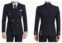 laços do casamento dos azuis marinhos venda por atacado-Elegante Design de Noivo Smoking Double Breasted Azul Marinho Pico Lapela Groomsmen Melhor Homem Terno Ternos de Casamento Dos Homens (Jacket + Pants + Tie) XF219