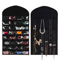 ohrring organisatoren großhandel-32 Taschen 18 Haken Stoff hängen Schmuck Veranstalter Inhaber Aufbewahrungstasche Ohrringe Schmuck Display Tasche Make-up Veranstalter