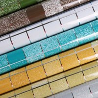 Wholesale oil sticker kitchen resale online - Aluminum Foil Self adhesive Wallpaper Bathroom Waterproof Scrub Mosaic Wall Tile Stickers Kitchen Oil proof Wall Paper