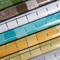 ingrosso carta da parati di carta igienica-Carta da parati autoadesiva impermeabile del bagno della carta da parati del foglio di alluminio macchia gli autoadesivi delle mattonelle della parete del mosaico Carta da parati a prova di olio della cucina