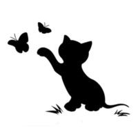 Wholesale butterfly window decor for sale - Group buy Cat Butterfly Fashion Decor Car Sticker Vinyl Decal Black SilverCA