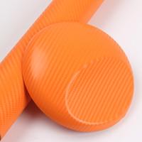 coche de vinilo de fibra de carbono al por mayor-El vinilo naranja 4D de fibra de carbono tiene gusto de la fibra de carbono brillante realista Foile para envoltura de automóviles con burbujas de aire 1.52x30 m / rollo 4.98x98.4ft