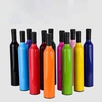 luces multifuncionales al por mayor-Botella Paraguas Vino tinto Plegable Luz ultrafina Creativa Multifunción Plata coloidal Plástico Paraguas de lluvia OOA7105