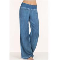 jeans frauen größe 33 großhandel-Plus Size S-5XL bequeme lose weites Bein Imitation Jeans Damen Jeans Imitation elastische Taille volle lange Hosen Hosen Y19042901