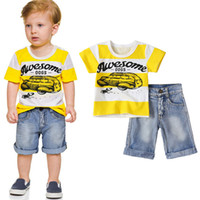 Wholesale boys jeans outfit for sale - Group buy Summer Baby Boys Jeans Clothing Sets Casual Suits Children Cartoon Clothes Kids Short Sleeve T Shirts Denim Shorts set Outfits M1496