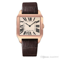 2019 Rose Gold New men watch Gentalmen luxury watches women fashion wristwatch leather brown square dial Female Relogio Montre male clock