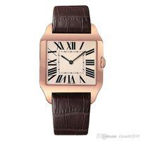 ingrosso orologio femminile maschio-2019 Rose Gold Nuovi uomini orologio Gentalmen orologi di lusso da donna moda orologio da polso in pelle marrone quadrante quadrato Femmina Relogio Montre orologio maschile