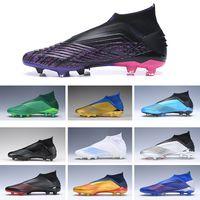 Senza lacci adidas Predator 19 bambini morsetti di calcio FG Paul Pogba Stagione 6 FG Scarpe bambini giovanile Junior Scarpe da calcio alte cime Rosa