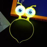 headband laranja amarelo azul venda por atacado-Dia das bruxas Headband Luminous Eyeball Headband Horror Brilhante Eyeball Headdress Halloween Costume Multi-color opcional Rosa Amarelo Laranja Azul