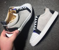 Wholesale designer dress shoes for men resale online - 2019 Brand Designer Luxury Mens Red Bottoms Shoes Studded Spikes Low Flats Casual Sneakers For Men Wedding Party Dress Leather