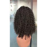pelucas rizadas mongoles al por mayor-Peluca delantera de encaje de pelo mongol Bob Onda profunda rizada rizada 13X4 pelucas delanteras de encaje de 10-18 pulgadas Productos para el cabello Bob