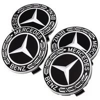 mercedes benz kapakları toptan satış-75 MM Araba Styling 4 Adet / takım Lastik Tekerlek Hubcaps Daire Kapak Çıkartmalar Mercedes Benz Oto Aksesuarları