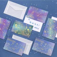 himmel bedrucktes papier großhandel-kreativer bronzing geburtstag danke karten segen karten gedruckt meerjungfrau sternenhimmel leeres papier grußkarten mit umschlägen postkarten