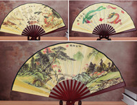 Wholesale print fabric china for sale - Group buy Ethnic Traditional Chinese Silk Fan Large Decorative Folding Fans Craft printed Bamboo Hand Fan for Man Gift