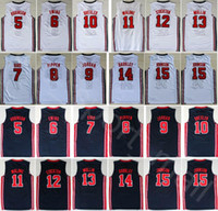amerikan basketbolu toptan satış-1992 ABD Rüya Takımı Tek Formalar Basketbol 13 Chris Mullin 15 Johnson 5 David Robinson Karl Malone Hristiyan Laettner Barkley Kuş Amerikan