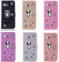 Wholesale samsung cases bear online – custom For Samsung Note Pro S10 G S10e A750 A20E A70 A50 M20 Bling Glitter Wallet Leather Case Bear Cartoon Diamond Luxury Cover Sparkle Stand