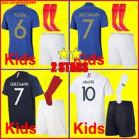 üniforma çoraplar toptan satış-France soccer jersey football shirt Fransa Futbol forması 2018 dünya kupası 2019 çocuklar kiti donatmak 100th yıldönümü GRIEZMANN POGBA MBAPPE futbol gömlek üniforma 100 yıl