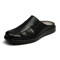 новый итальянский тапочки оптовых-Men's Italian Fashion Slippers 2016 Summer  New Casual Black Faux Leather Beach Massage Sandals Home Comfort Shoes Size 43