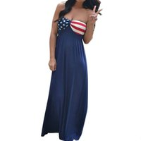 amerikanische strandkleider großhandel-Sommerkleid Frauen American Flag Printed Sleeveless Boho Lange Maxi Abend Strandkleid vestidos de fiesta de noche